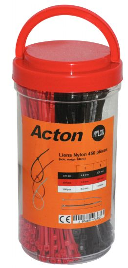 Liens nylon noir rouge blanc / Black, Red and White nylon cable ties